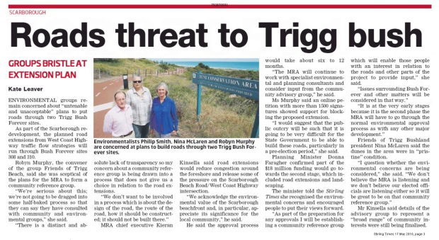 Stirling Times 160517 p3 Roads Threat to Trigg Bush