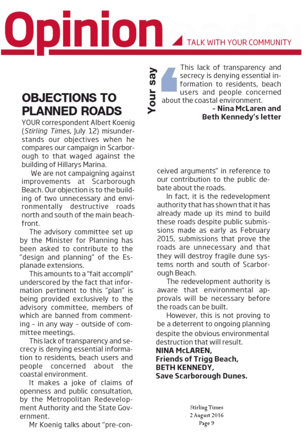 Stirling Times 160802 p9 Objections to Planned Roads